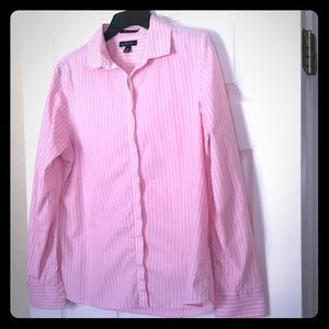 Pink stripped button up front blouse